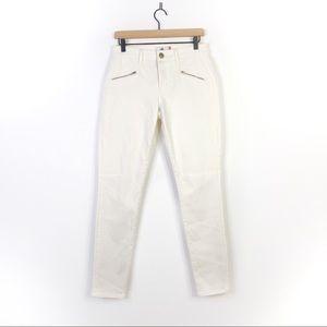 Cabi White Moto Zipper Curvy Skinny Jean Pants 6